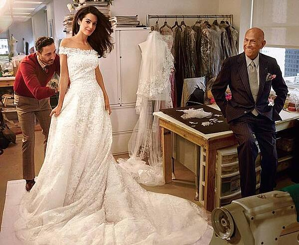 Amal Clooney's fashionable wedding dress