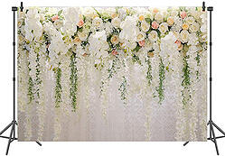 BUTEN White Rose Floral Photography Backdrop