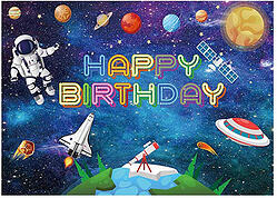 Funnytree Outer Space Birthday Backdrop