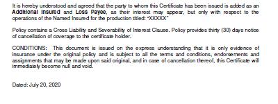 Certificate of Insurance Canada