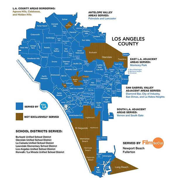 Map of all the areas Film LA serves